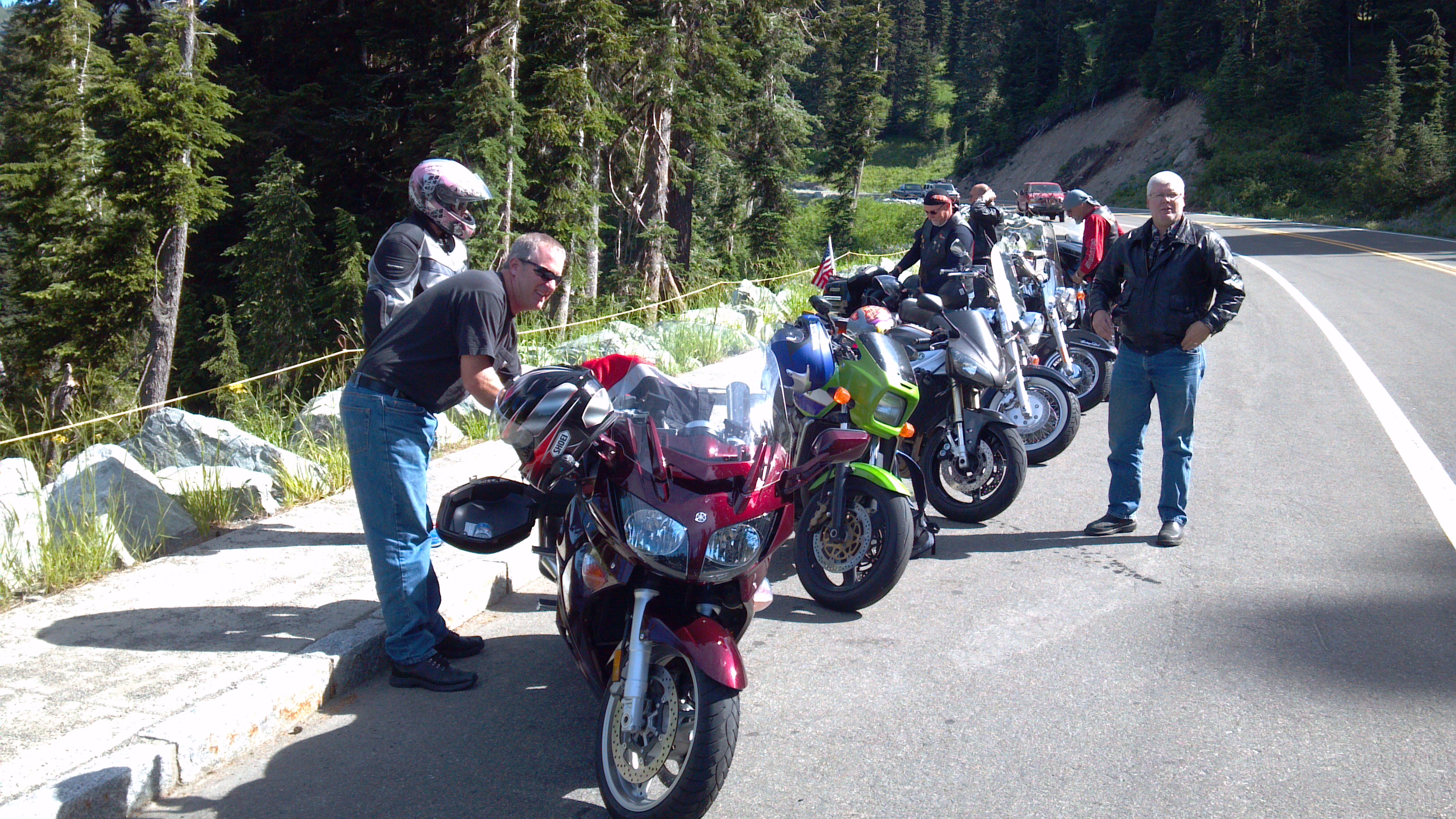 Motorcycles parked at the summit of Chinook Pass, WA