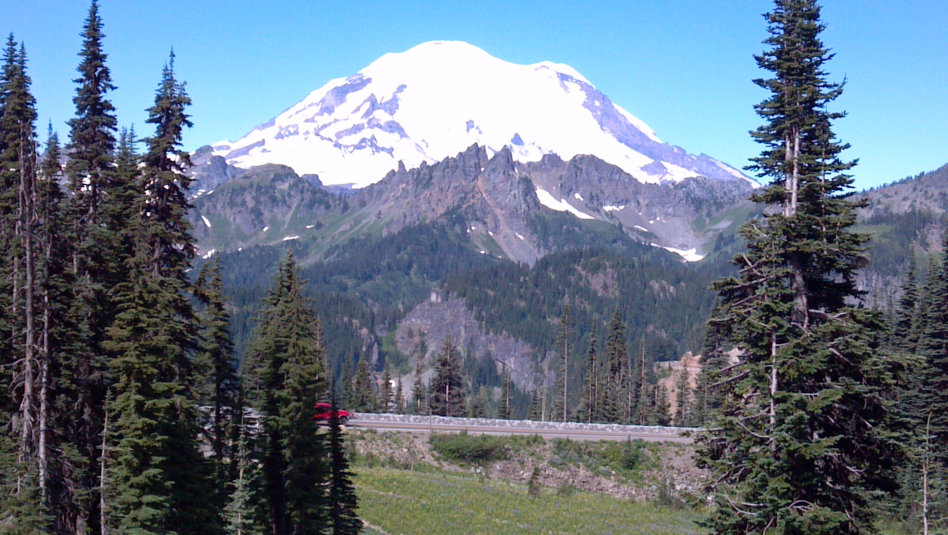 Mt. Rainier as seen from the summit of Chinook Pass in Washington state.