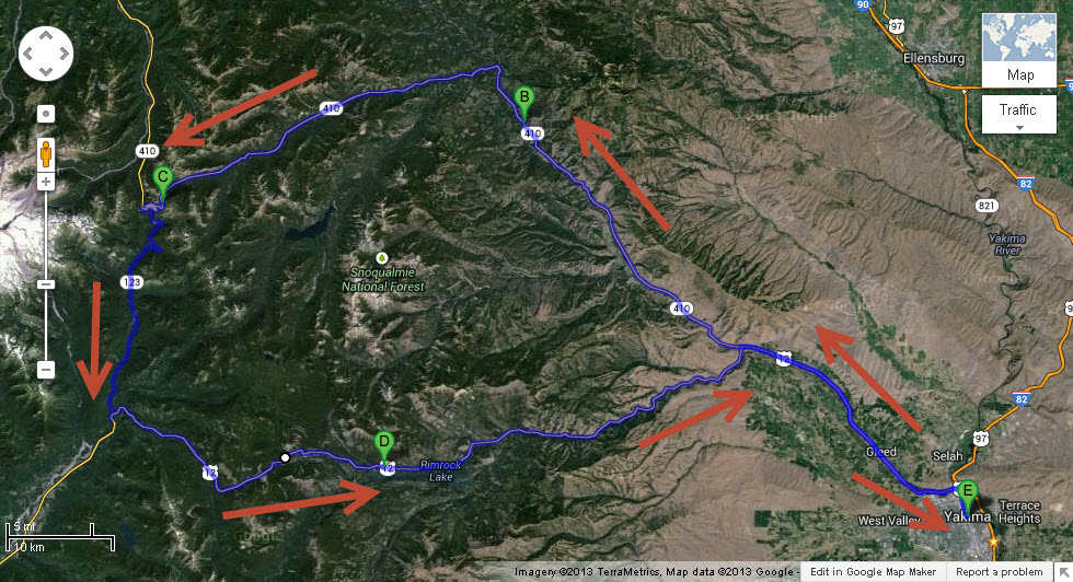 Map of our trip over three mountain passes