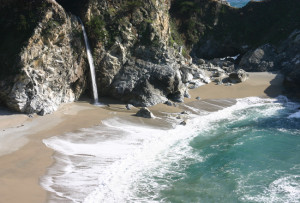 Waterfall at Pfeiffer Beach in Big Sur