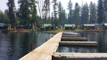 Rainbow Beach Resort cabins from the end of the dock