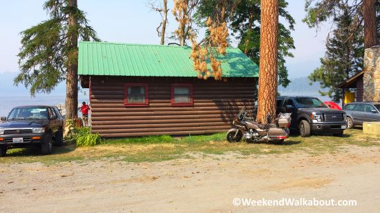 Goldwing parked by our cabin