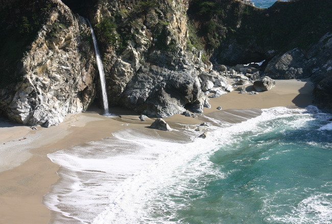 Waterfall At Pfeiffer Beach In Sur